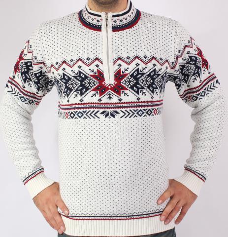 fd524600f6b Pánský svetr s norským vzorem Ewident IGOR-Z bílý
