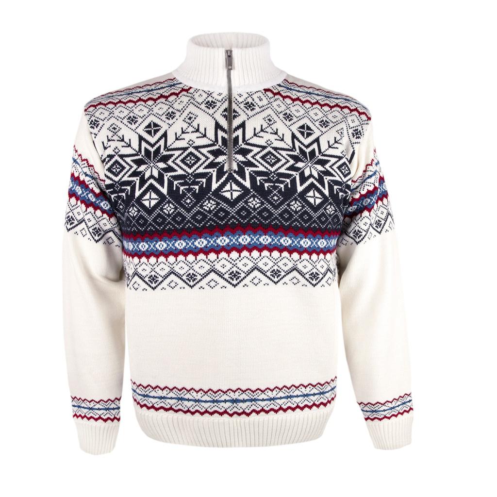 4804e12d62d Pánský svetr Kama 4071 bílý s norským vzorem